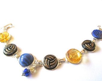VOLLEYBALL University of California vintage button bracelet. One of a kind