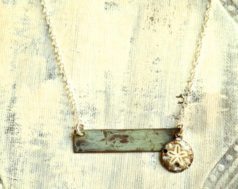 Patina Bar Necklace with Sand Dollar Charm Sterling Silver Chain