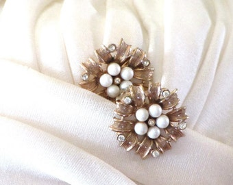 Rare 50s Gold Charel Rhinestone and Nest of Peals Earrings Etched Flower Clips Mid Century