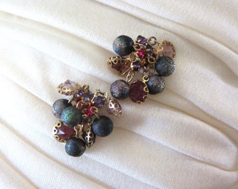 Kramer of New York Fuchsia and Purple Crystal and Frosted Metallic Waterfall Dangle Clip Earrings
