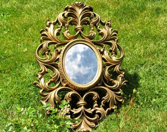 Gold Scrolled Smoked Glass Acanthus Leaf Mirror Large Ornate Regency Burwood Open Work Oval Rococo Decor