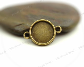 Bulk 30 Cabochon Connector Settings Antique Bronze Tone - Fits 8mm Cab, Round Bezel Trays, Cameo Base, Pendant Blank, 2 Loops - BA35