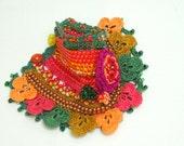 Unique ,Freeform crochet cuff bracelet  - Beaded Crochet- Womencuff - Boho Cuff Bracelet -Multicolor Bracelet - Womens Bracelet -Womens Gift