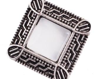 1 PC - 18MM FLAW - White Cat's Eye Rhinestone Silver Snap Candy Charm Kc7035 CC2136