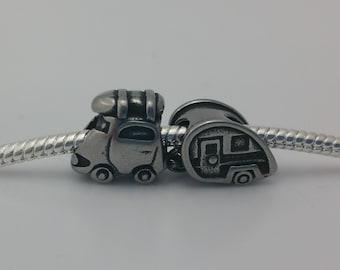 2 Bead Set - RV Trailer Car Stainless Steel Silver European Bead Charm Limited Edition E1511