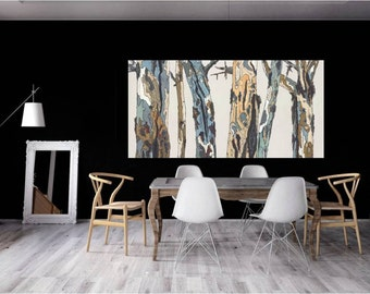 Extra LARGE Wall Art Print pastels white tree art canvas Landscape masculine decor office living dining room bedroom artwork bark