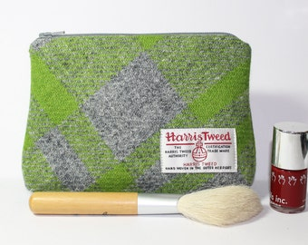 HARRIS TWEED make-up bag, cosmetics bag, lime green and grey Tartan
