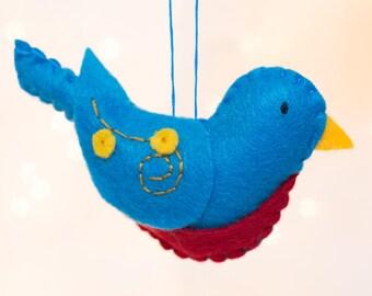 Felt Bluebird Ornament - Felt Bird Ornament