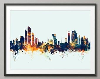 Abu Dhabi Skyline, Abu Dhabi UAE Cityscape Art Print (2355)