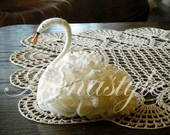 Beautiful  hand-made crochet swan. Gift Doily
