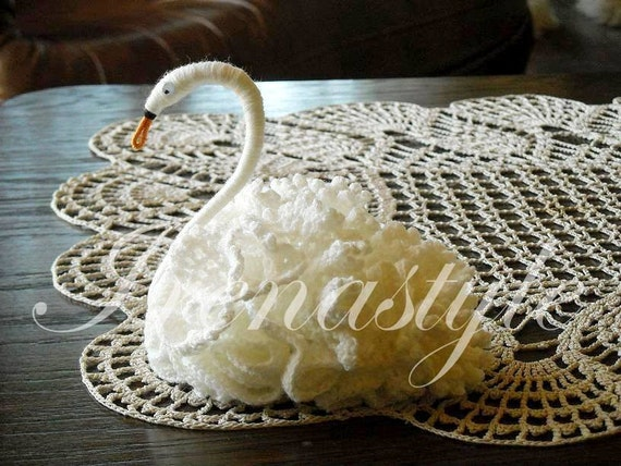Beautiful  hand-made crochet swan. Gift Doily