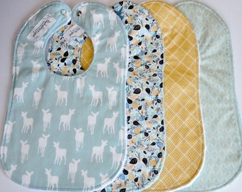 Baby Bibs, Gender Neutral Baby Bibs, Blue and Gold Baby Bibs, Set of 4 baby/toddler bibs
