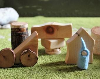 Branch Block Gnome sets, blocks, wooden toys, imagination play, mini gnome