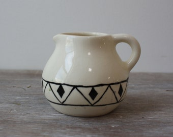 Vintage Signed Petite Ceramic Creamer // Black and White // Pottery // 1970s // Small