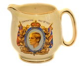 1937 Coronation of King Edward VIII Souvenir Water Jug PARIS Made in England Vintage Royalty Royal Coronation Royal Memorabilia