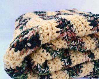 Cozy fall harvest large crochet blanket, afghan, lap blanket, bedding, travel blanket, double thick blanket, large blanket, large afghan
