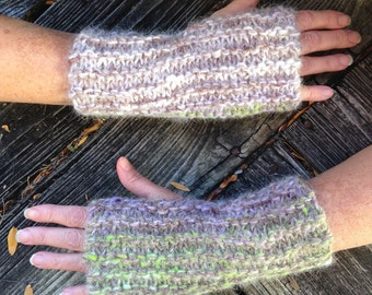 Hand Knit Chunky Wool Fingerless Gloves