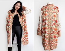 Vintage Boho Chic Russian Folk Style Embroidered Cashmere Wool Coat - Size Large To Extra Large