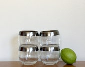 Authentic Dorothy Thorpe Silver Band Roly Poly Whiskey Glasses Mid Century Barware
