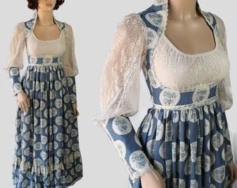70s Gunne Sax Dress Hippie Boho Ren Faire Costume Princess