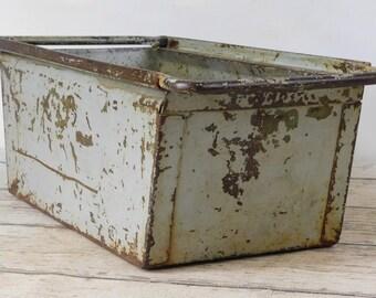 Vintage Metal Bin Vintage Metal Box Industrial Metal Decor Metal Basket Storage 1