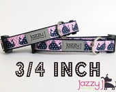 Polka Dot Pink and Navy Preppy Whales Dog Collar