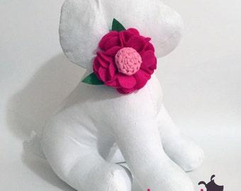 Hot Pink & Light Pink Felt Flower Collar Accessory