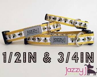 Beehive Yellow & Black Bumble Bee Summer Dog Collar