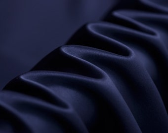 """Navy Heavy Silk Satin- 55"""" width 40mm Solid Color-Luxury Silk Fabric for Evening dresses, summer Skits/Blouses/Dresses- 1 yard"""
