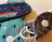 Set of 3 Adjustable Cord Wraps, Electronic Cord Wrappers, Cord Organizer, Cord Keeper- Navy arrows, chevron zigzag, aqua tacks Custom Made