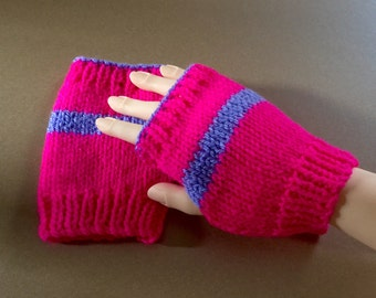 Little Girls Hot Pink No Digit Gloves. Kids Knit Fingerless Gloves. Hand Warmers, Games Gloves, Toddler Mitts. Neon Pink/ Lavender
