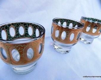 Set of 3 Culver Antigua 22K Lowball Glasses, Madmen Style!