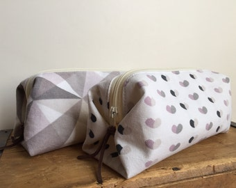 Gray and Pink Box Pouch, Geometric, Heart, Zipper Cosmetic Pouch, Toiletry Bag, Box Pencil Case