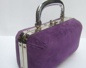 Chic Violet Suede Box Style Handbag Made in Italy