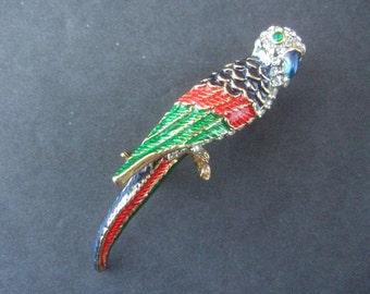 Elegant Crytsal & Enamel Parrot Brooch