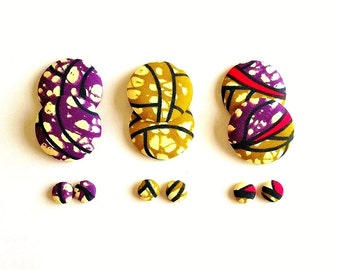Button Fab - African Wax Print Fabric Button and Stud Earrings Set