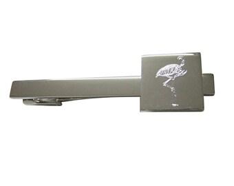 Engraved Flamingo Bird Square Tie Clip