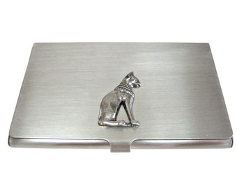 Silver Toned Egyption Cat Business Card Holder