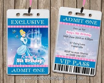 Disney Princess VIP Lanyard Personalised Birthday Invitations x 10
