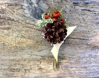 Classic Winter Boutonniere - Holiday Boutonniere, Pinecone Wedding Boutonniere - Pine, Cedar, Evergreen, Rose Hips, Lichen & Baby's Breath