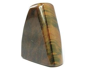 Tiger Eye Semiprecious Gemstone curio, paper weight, Natural Gem Free Form, vintage African Tiger Iron Mineral, Polished rock sculpture
