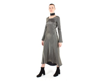 80s Metallic Silver / Pewter / Holographic Scoop Neck Long Sleeve Minimal Party Dress