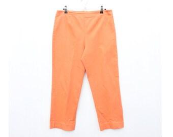 80s PERFECT Bright Orange Minimal Stretch Denim High Waist Three Quarter Knickerbocker Jeans - So Rare!