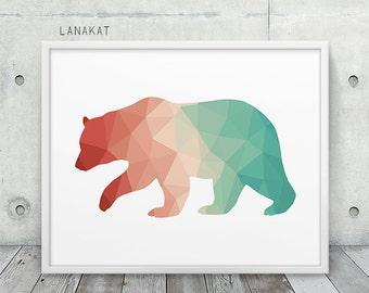 Coral & Mint Bear Print. Triangle Geometric Print. Bear Wall Art. Woodland Animal Print. Nursery Home Office Decor. Geometric Art Printable