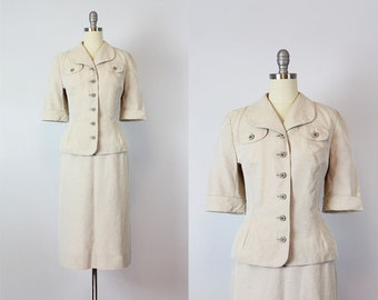 vintage 50s suit / 1950s tan faille suit / jacket and pencil skirt set / nipped waist suit / neutral minimalist suit / Proper Form suit
