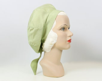 vintage 60s green silk turban / deadstock 1960s slouch beret / raw silk tam hat / loose fit tie back hat / spring green hat / sculptural hat