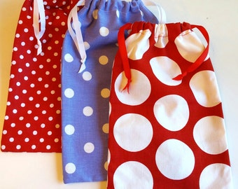 Polka Dot Gift Bag, reusable drawstring bag for gift giving - American Made