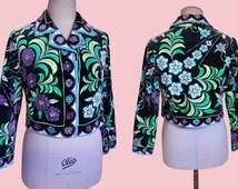 Emilio Pucci vintage velvet jacket geometric 70s op art mod 1960 psychedelic floral  bohemian bolero collared bold print flower leaves mod