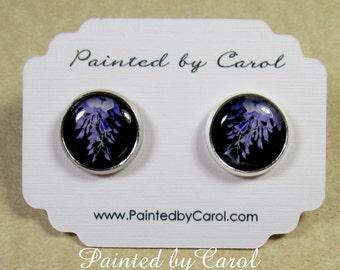 Wisteria Earrings - Purple Wisteria Flower Stud or Lever Back Earrings