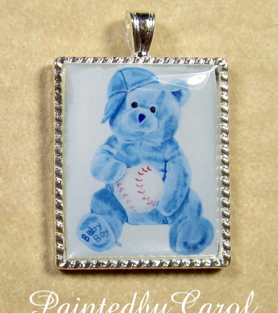 Baby Boy Gifts Jewelry : Baby boy pendant blue teddy bear necklace jewelry